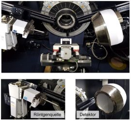 Röntgendiffraktometer mit 2D-Detektor und Möglichkeit zur mechanischen Beanspruchung von Proben